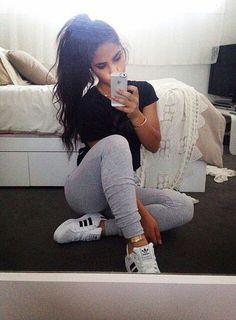 ♡ On Pinterest @ kitkatlovekesha ♡ ♡ Pin: Fashion ~ Black Top & Gray Sweatpants ♡
