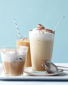 Food Photography: Iced Cappuccino Recipe (use almond milk---stir with whisk to foam and use THM plan sweetener) // Drinks, Iced Drinks, Ice, Foam, Front View, Soft Lighting, Artificial Lighting, Chocolate, Smoothies, Relative Styling, Glasses, White Background, Pastel Background, Complimentary Colours, Colour Contrast, Layers, Tabletop Styling, Plates, White Utensils