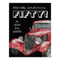 50th Birthday Party For Vintage Auto Mechanics Personalized Announcements