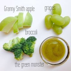 Apple, grapes, broccoli