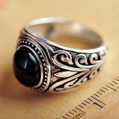 Men's Sterling Silver Black Onyx Ring
