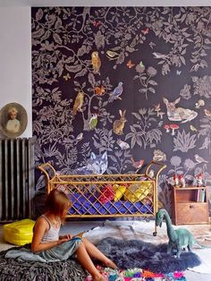 a whimsical escape with wild life wallpaper + an infusion of vibrant hues