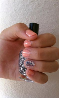 sweet manicure with one glittery accent nail #love