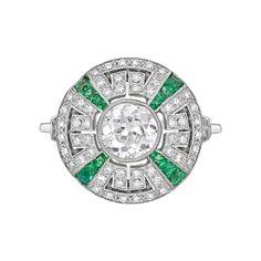 Estate Betteridge Collection Diamond & Emerald Dress Ring