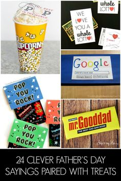 A list of 24 Father's day sayings paired with small treats. You'll find the perfect cheesy saying for the dad in your life! + lots of free printables!