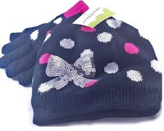 Jumping Beans Glitzy Hat and Gloves Set Large Girls' 10-12. 2-piece set includes: hat and gloves, Girls' Size Large 10-12. Ribbed trim. Soft fleece lining. Playful fashion meets cold-weather comfort in this girls' hat set, featuring fun polka dots and shiny bow. Hand Wash.