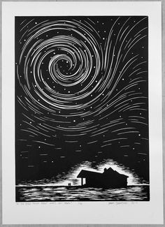 Lino Print: Do You Ever Think About What's Out There? - Linocut, Signed and Numbered Art print, Edition of 100 - Do You Ever Think About Whats Out There? is a handmade lino print/linocut of two people stood outsi - Linocut Prints, Art Prints, Block Prints, Gravure Photo, Lino Art, Black Paper Drawing, Number Art, Linoprint, Wood Engraving