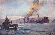 Willy Stöwer - Versenkung eines feindlichen bewaffneten Truppentransportdampfers durch deutsches U-Boot im Mittelmeer (1917)