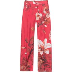 For Restless Sleepers Flower Red // Patterned silk pants (£525) ❤ liked on Polyvore featuring pants, loose fitting pants, fitted pants, loose fit pants, red pants and patterned pants