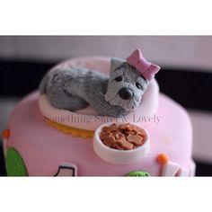 Fondant Dog, Fondant Puppy, Schnauzer theme cake: by Something Sweet & Lovely Follow us on instagram @byroxydavis