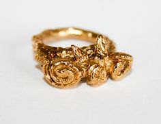 Gold plated Sterling silver ring with leaves and roses, twig statement ring.