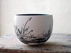 Christina Guwang 2013 buissons, paysage noir sur blanc