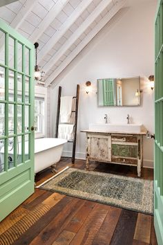 Farmhouse Style Bathroom OMG look at it all...love the sink. love the ceiling. love the doors...