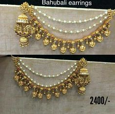 Bahubali style earstrings in pearls and gold balls with jhumkis in peacock design. Indian Jewelry Earrings, Silver Jewellery Indian, Indian Jewellery Design, Ruby Jewelry, Chain Earrings, Fashion Earrings, Wedding Jewelry, Jewelry Design, Silver Jewelry