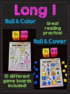 Long I Silent E games that are so much fun to practice reading i_e words in hands on activities where kids roll the word and either color it or cover it (you can play either way) - kids LOVE these phonics sounds words rolls!!