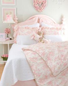pink bedroom.