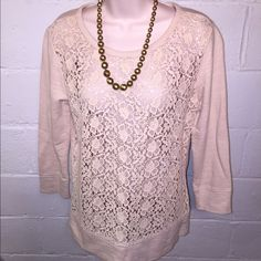 Loft xsm NWT sweater crochet lace Excellent condition.   No flaws  •No reserves/holds •I bundle & discount bundles •If an item is higher than you want to pay, message an offer or favorite & wait for price to drop weekly.  •My mannequin is Xsm so sometimes items appear loose or I clip back for actual look/fit •Usually ships within 24 hrs and latest 48 hours unless otherwise noted.  •Some of my items are various sizes because I sell for sister as well. #loft LOFT Tops Blouses