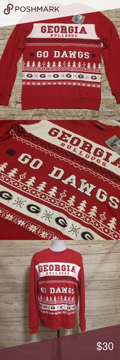 Georgia Bulldogs Ugly Christmas Sweatshirt Not ugly at all, but perfect for your Ugly Christmas sweater party! Red Sweatshirt with winter/holiday themed UGA Print allover. Back is solid. Size medium but if seems like it might be a men's medium and perfect for a women's large. Nice comfy fit. Official licensed and be with tags. PRICE FIRM UNLESS BUNDLED Officially Licensed Collegiate Product Tops Sweatshirts & Hoodies