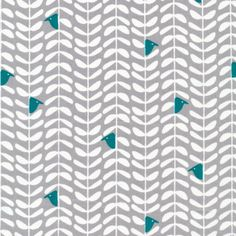 """""""Peeking"""" in Gray organic cotton fabric from the Yoyogi Park collection by Skinny LaMinx for Cloud9"""