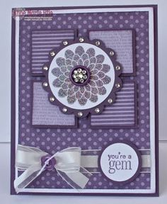 handmade card ... monochromatic Perfect Plum ... designer papers and cardstock  ... good design to show off coordinating designer papers ... Stampin' Up!