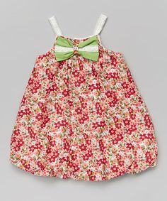Loving this Red Floral Bow Bubble Dress - Infant & Toddler on #zulily! #zulilyfinds