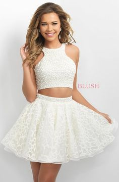 Blush two piece party dress with pearl top and floral lace skirt. #BlushHomecoming