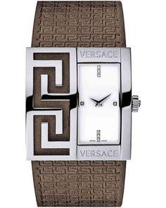 Πρωτοτυπία, μοναδικότητα, λάμψη, υψηλή σχεδιαστική μαεστρία. Με μια λέξη : VERSACE. Ο διάσημος οίκος παρουσιάζει μία δημιουργία που ξεχωρίζει χάρη στο απαράμιλλο στυλ. Versace, Square Watch, Brown Leather, Watches, Crystals, Accessories, Wristwatches, Clocks, Crystal