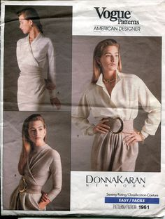 Vogue1961 DKNY 90s Bodysuit Wrap Top Sz6-8-10 UC 39.99+3.5 sld 3/25/15 Loose fitting top has long sleeves. A:wrap, bias, draped front extends to tucked back collar, attached to tie ends. B:mock front wrap, shoulder pads, tucked front extends into single layer tie ends (wrong side may show) & back zipper. Bodysuit has notched collar, dropped shoulders, shoulder pads, mock front band, yoke with forward shoulder seams, very loose fitting blouson bodice, back pleat, elastic (seamed) waist…