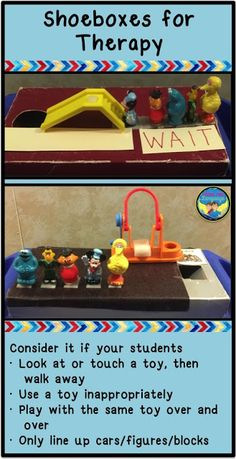 Autism: Teaching Play Skills with a Shoebox- Playground Autism: Using shoeboxes to teach play skills by Looks Like Language Autism Preschool, Preschool Speech Therapy, Autism Teaching, Autism Education, Autism Resources, Autism Classroom, Speech Language Therapy, Speech Therapy Activities, Language Activities