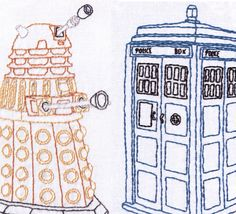 Hand Embroidery Patterns Combo Pack-Tardis and Dalek-Dr Who by ravenfrog on Etsy https://www.etsy.com/listing/166149740/hand-embroidery-patterns-combo-pack