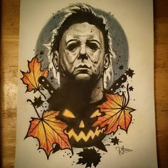 Couldn't resist colouring it in lol up for grabs for #halloween #tattoo #tattoos @steeleandinktattoo #tattooing #art #tattoolife #tattooworkers #artist #ink #inked #tattooart #tattoodesign #uk #design #drawing #sketch #horror #michaelmyers #film #movie #leaves #mask #pumpkin #neotradsub #neotrad #neotraditional #uktattoo #newtraditional #instagood