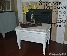 how to make an elegant storage ottoman from a 7 thrifted end table, how to, painted furniture, repurposing upcycling, storage ideas Thrift Store Furniture, Upcycled Furniture, Painted Furniture, Diy Furniture, Furniture Refinishing, Rental Home Decor, Rental Decorating, Diy Home Decor, Repurposed Items