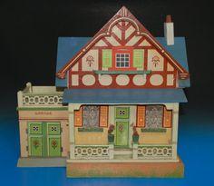 antikes Albin Schönherr Puppenhaus mit Garage & Dachterrasse * um 1910-1920