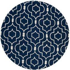 Chatham Dark Blue/Ivory 7 ft. x 7 ft. Round Area Rug