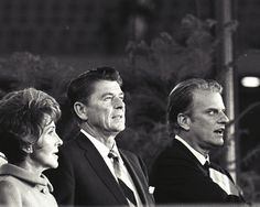 Nancy and Ronald Reagan with Rev Billy Graham