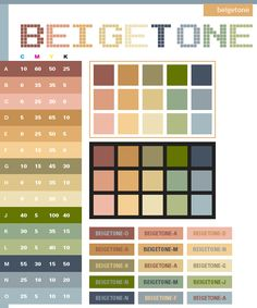 Beige Tone Color Schemes Combinations Palettes For Print CMYK And Web RGB HTML