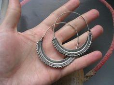 SAW HOOP EARRING tribal ethnic silver earring by FIGistanbul