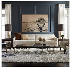 I would love this in a mushroom-gray leather DESMOND SOFA [available online and in stores] by Mitchell Gold & Bob Williams (I believe that the gray, leather, great room sofas at www.thejulianhome.com are this collection. http://www.mgbwhome.com/DESMOND-SOFABRavailable-online-and-in-stores-P12200.aspx