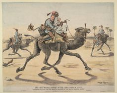 """The First Mounted Parade of The Camel Corps in Egypt."" 1884 by Harry Payne"