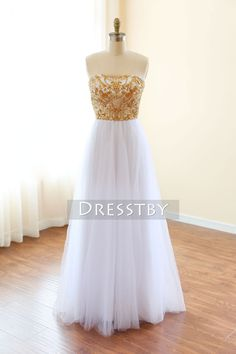 White tulle sequin beaded long prom dress f88a85f0e5c4