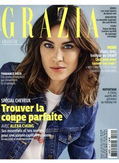 The beautiful Alexa Chung wearing the VIVE jean jacket on Grazia's cover #maje #alexachung #jacket #jeans #grazia #press #cover
