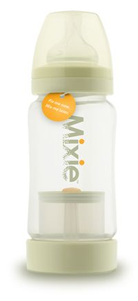 For travel. This bottle holds formula in a container at the bottom. Push a button, and the top comes off and agitates the power into the water with just a few shakes. Such a time (and space) saver!