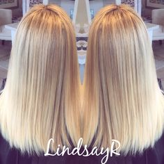 Champagne blonde  Highlight Goldwell color Blonde Brazilian Blowout Bree Salon Wrentham, MA  hair by: Lindsay