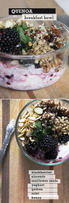quinoa breakfast bowl with berries, yogurt, almonds, sesame seeds, and honey