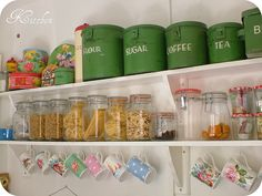 Cath Kidston mugs, pasta in jars, and vintage kitchen tins in the best green possible? Loving those green canisters! Kitchen Shelves, Kitchen Decor, Kitchen Ideas, Open Shelves, Kitchen Stuff, Shelving, Kitchen Display, Cozy Kitchen, Kitchen Small