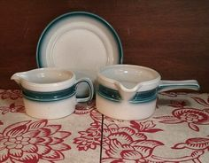 Wedgewood Blue Pacific Creamer Gravy Boat and Plate LOT #WEDGEWOOD