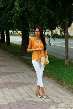 Orange Top ( Silk Shirts & Blouses & Clutches )