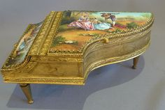 Antique musical grand piano in hand painted enamel and fine gilt bronze. - Gavin Douglas Antiques