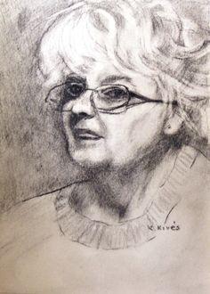 Kivés Ilona , portré.( önarckép ) Szén, papír, 32x22cm. Art, Art Background, Kunst, Performing Arts, Art Education Resources, Artworks