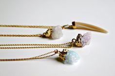 #Raw #Druzy #Necklace Druzy #Crystal Necklace Natural by meltemsem #gold #electroformed #horn #pink #violet #white